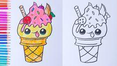 drawings ice cream draw easy kawaii cartoon