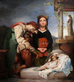 """El niño enfermo (""""Das kranke Kind""""). François-Joseph Navez. 1844. Localización: Alte Nationalgalerie (Berlin). https://painthealth.wordpress.com/2015/11/26/el-nino-enfermo/"""