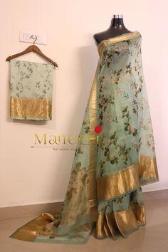 Pure Silk Organza Floral Sarees with Real Kanjipuram borders and draped on a Pure chic Satin Crepe blouse with Kanjipuram borders For Booking and Inquiry visit us at www.facebook.com/maneeti or whatsapp on 9539820656 #Kanjipuram #floral #Kanjipuramsaree #Sarees #sareelove #Organzasarees #kanjpuramorganza #maneeti