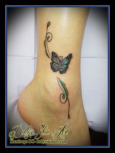 colour butterfly floral filigree green purple blue ankle tattoo kamloops dolly's skin art