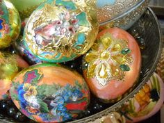 Real chicken's eggs; blown clean, dried and embellished from my massive stash of stuffs.