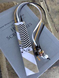 REGULAR Size Bible Bookmark, Gold Stripe with Black/White Chevron & Floral, JW Bookmark, New World Translation Bookmark