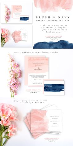 Watercolor Wedding Invitations | Blush & Navy is a set of hand-painted watercolor clipart, textures, background and borders. The watercolors have been painted using a loose hand, in a minimalist, dreamy, airy style. There are subtle ombres, rough textures (perfect for layering), and charming brush strokes, painted in a blush & navy color scheme. These are perfect for use in wedding invitations, other stationery, logos & branding, website banners & headers, business cards, packaging materials