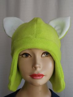 NEON GREEN Aviator Hat, Anime Cosplay Hat, Fleece winter hat, Pin Now View Later,  $32.00 - SewingMemere.etsy.com http://www.CatherineBellaire.ca