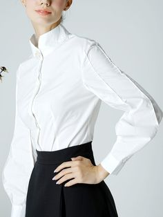 Shop Blouses - White Elegant Solid Stand Collar Cotton Blouse online. Discover unique designers fashion at StyleWe.com.