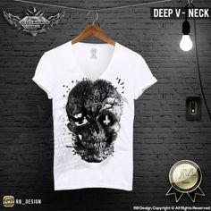 Mens T-shirt Unique Vintage Old Tree Skull RB Design Inverted Cross Top MD050