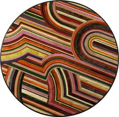 Custom Round Rug  Contemporary, Stripe, Hide, Rug by Kyle Bunting