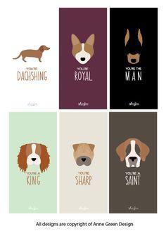 Puppy Love Valentine Card Set by AnneGreenDesign on Etsy