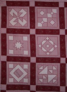 "Anne Quilting and Sewing: Hand Embroidered ""Chicken Scratch"" or ""Gingham Lace"" Quilt by DS Hungarian Embroidery, Folk Embroidery, Ribbon Embroidery, Cross Stitch Embroidery, Embroidery Patterns, Cross Stitch Patterns, Quilt Patterns, Chicken Scratch Patterns, Chicken Scratch Embroidery"