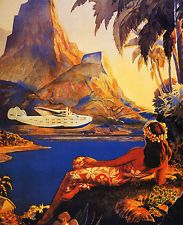 VINTAGE HAWAII HULA DANCE GIRL AIRPLANE PLANE TRAVEL BEACH POSTER REPRO LARGE