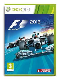 Official Xbox 360 packshot of F1 2012, featuring Mercedes, Lotus-Renault, and HRT.