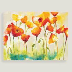 Full of fresh color and playful energy, our poppy-strewn piece makes a sunny focal point for the kitchen or living room.