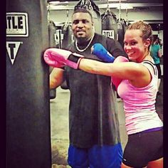 @Nina Jo Pastena snapped a pic of her pal Jessica learning to #hitithard with Title Boxing Club trainer Bigg Ron #TITLEfanpics