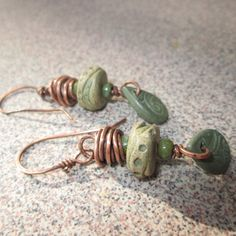 Ceramic and Copper Earrings, Handmade Ceramic Jewelry, by HandMaidenDesign on Etsy https://www.etsy.com/listing/220563778/ceramic-and-copper-earrings-handmade