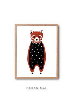 Baby Red Panda Art Print Penguin Art print Animal by dekanimal