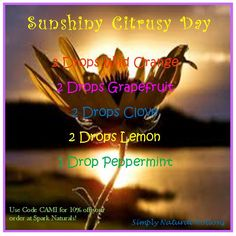 Sunshiny Citrusy Day Diffuser Blend ~ www.sparknaturals.com/?affiliates=110; Use coupon code REVIVE for an additional 10% off purchase at checkout.