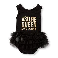 Baby Girls Sleeveless Foil  Hashtag Selfie Queen Like Mama  Graphic Tutu  Bodysuit Μόδα Για 6396658d420