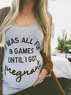 It Was All Fun And Games Until I got Pregnant, Pregnancy Announcement Shirt, New… – Maternity Photos Pregnant Mom, Getting Pregnant, Pregnant Funny, Baby Kicking, Before Wedding, After Baby, First Time Moms, Baby Hacks, Baby Tips