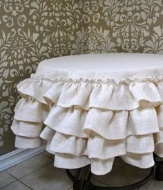 Cream Burlap Ruffled Tablecloth by The decorator Ruffled Tablecloth, Round Tablecloth, Craft Fair Table, Burlap Fabric, Wedding Linens, Diy Pillows, Linen Bedding, Bed Linen, Table Covers