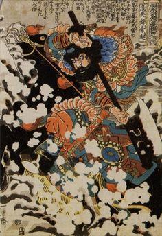 "Utagawa KUNIYOSHI ( ) ~ Kyusempo Sakucho at the battle of Peking from Tsuzoku Suikoden goketsu hyaku-hachi-nin no hitori, ""The Hundred and Eight Heroes of the Popular Suikoden, One by One. Japanese Woodcut, Japanese Folklore, Japanese Mythology, Traditional Japanese Art, Kuniyoshi, Japanese Painting, Japanese Artwork, Chinese Painting, Samurai Art"