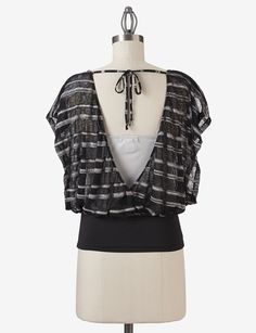 This Trixxi striped print 2-fer top is cute both coming AND going... From Stage Stores.
