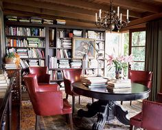 bookshelves! #library #bookshelves #armchairs
