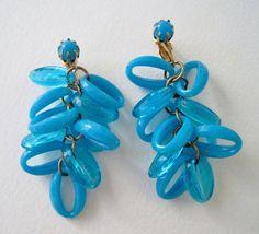 Vintage 60s Retro Kitsch Goldtone Geometric Oval Peacock Blue Bead Dangle Earrings by ThePaisleyUnicorn, $8.00