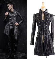 UNISEX PU gothic punk visual kei knight Japan long coat jacket blazer SMALL #Handmade #BasicJacket