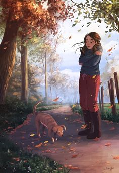 Illustrator Yaoyao Ma Van As. Yaoyao Ma Van As, or shortly YaoYao art director, . Paar Illustration, Arte Indie, Alone Art, Digital Art Girl, Cartoon Art Styles, Girl And Dog, Anime Art Girl, Aesthetic Art, Cute Cartoon