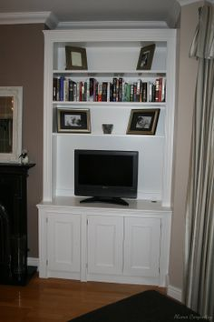 Our bespoke alcove units come with base cabinets and wall shelving. The proper alcove bookcases or alcove floating shelves are designed to fit any space. Alcove Cupboards, Built In Cupboards, Base Cabinets, Chimney Breast, Industrial House, Living At Home, Entertainment Room, House In The Woods, Built Ins