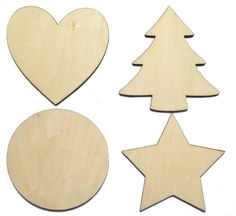 Solid Wooden Craft Shapes Wood Tags Heart, Star, Circle, Christmas Tree NO Holes in Crafts, Woodworking | eBay