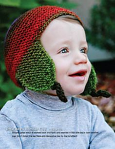 Simple garter stitch is worked back and forth and seamed in this little boy's cool-weather cap. Don't forget the ear flaps and decorative ties for the full effect! Free Pattern Download, Universal Yarn, Garter Stitch, Little Boys, Crochet Hooks, Ties, Forget, Ear, Weather