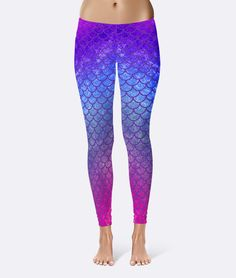 Pin for Later: If You're Obsessed With Mermaids, These Are THE Best Workout Clothes Blue, Pink, and Purple Mermaid Leggings Blue, Pink, and Purple Mermaid Leggings ($40)