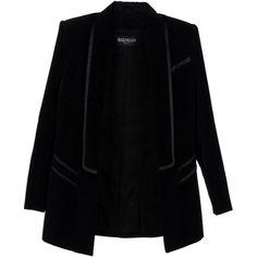 BALMAIN Blazer (€1.165) ❤ liked on Polyvore featuring outerwear, jackets, blazers, blazer, black, coats & jackets, black collar jacket, black velvet blazer, long sleeve jacket and collar jacket