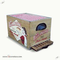 """Panera vintage de madera con tabla de cortar """"Boulangerie"""" - DECORATECA.COM"""