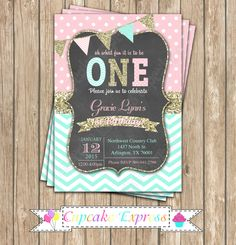 One First Birthday girl coral pink mint gold PRINTABLE chalkboard Invitation #2 chevron polka dot glitter 1st birthday 1031 by CupcakeExpress on Etsy https://www.etsy.com/listing/243065085/one-first-birthday-girl-coral-pink-mint