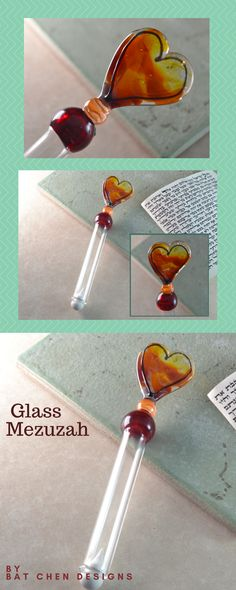 """A handmade glass mezuzah case, the perfect Jewish wedding gift!  This mezuza is blown out of borosilicate - strong and durable glass in my studio in Jerusalem. Hoping the glass heart design will resemble all the love in your home.  A worlds strongest double-sided adhesive is used for convenient and strong attachment.  SIZE - 6"""" long. #mezuzah #jewishgift #judaica"""