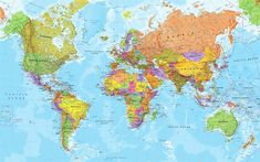 Download wallpapers World Map, political map, 4?, countries of the world, oceans, countries map