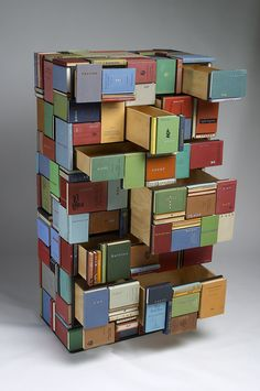 Patrick Hall Stack, 2005, Chest of drawers, Collected objects (cloth bound books; typewriter keys); plywood, 169.5 x 91 x 52 cm. Collection Museum of Old and New Art (MONA) Hobart.