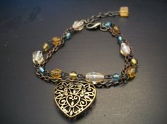 Double stranded Antiqued Brass Heart Bracelet an upcycled design by Changedidentity