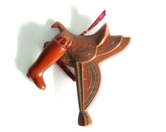 Vintage Celluloid Pin - Saddle and boot