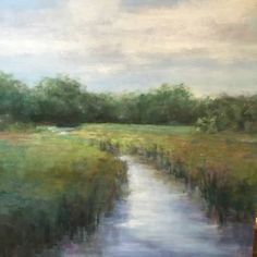 Overcast Marsh  marsh, marsh art, low country, original art, creek, river