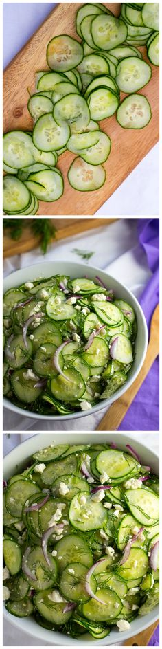 Cucumber and Pickled Feta Salad with Dill by shelikesfood via yummly: This fresh and flavorful salad is the perfect summer side dish. http://www.shelikesfood.com/1/post/2015/06/cucumber-and-pickled-feta-salad-with-dill.html #Salad #Cucumber #Feta #Dill