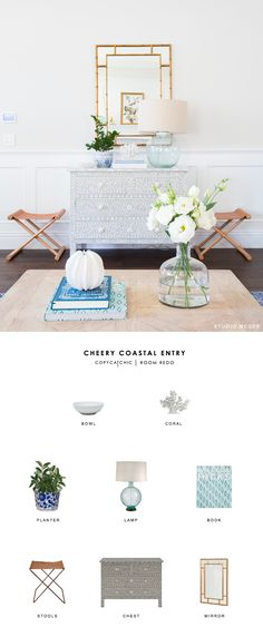 A cheery coastal entryway designed by Studio McGee and recreated for less by copycatchic luxe living for less budget home decor and design http://www.copycatchic.com/2017/03/copy-cat-chic-room-redo-cheery-coastal-entry.html?utm_campaign=coschedule&utm_source=pinterest&utm_medium=Copy%20Cat%20Chic&utm_content=Copy%20Cat%20Chic%20Room%20Redo%20%7C%20Cheery%20Coastal%20Entry