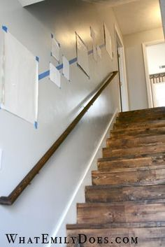 "What a great way to space pictures going up a stairway! Thanks ""What Emily ""The stairs. What a great way to space pictures going up a stairway! Thanks ""What Emily "" Staircase Wall Decor, Stairway Decorating, Stair Decor, Stairway Wall Decorating, Apartment Wall Decorating, Basement Decorating Ideas, Stained Staircase, Staircase Walls, Stair Landing Decor"