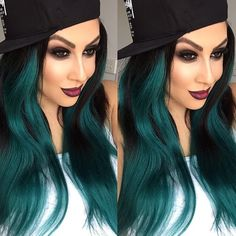 """It's a baseball cap kind of day! Our #bellamibella  @mariayousifmakeupartist is rocking her @kyliejenner 180g 20"""" #1 #BELLAMIJetBlackTeal ombré #KylieHairKouture use code """"maria"""" for $$$ off at checkout <3 #bellamihair #teambellami #bellamibella #bellamibeautybar #bellamimovement"""