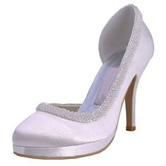 Minitoo Womens Round Toe Stiletto Heel Beading Bridal Wedding White Satin Shoes Pumps 115 M US ** Details can be found by clicking on the image.-It is an affiliate link to Amazon. #WeddingShoes