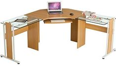 Large Corner Computer Desk Office Table with Glass Wings for Home Gamers Students Work Oak Effect - Piranha Furniture PC Office Computer Desk, Office Table, Home Office, Gaming Desk Table, Steel Frame, Office Furniture, Home And Living, Corner Desk, Shelves