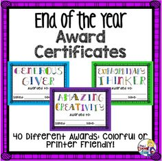 The End of the Year Award Certificates feature 40 different awards, so you'll be able to find one that is just right for each of your students. Each award is super cute and comes in three versions, an editable colorful set so you can customize names and dates using the computer, or two write in versions: one with a colorful border and a printer friendly version with a white border.