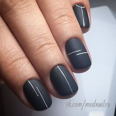 Looking for easy nail art ideas for short nails? Look no further — here are ar… Looking for easy nail art ideas for short nails? Look no further — here are are 20 quick and easy nail art ideas for short nails. Essie, Lines On Nails, Cute Nail Art Designs, Line Nail Designs, Simple Nail Designs, Matte Nail Designs, Black Nail Designs, Short Nail Designs, Nail Design For Short Nails